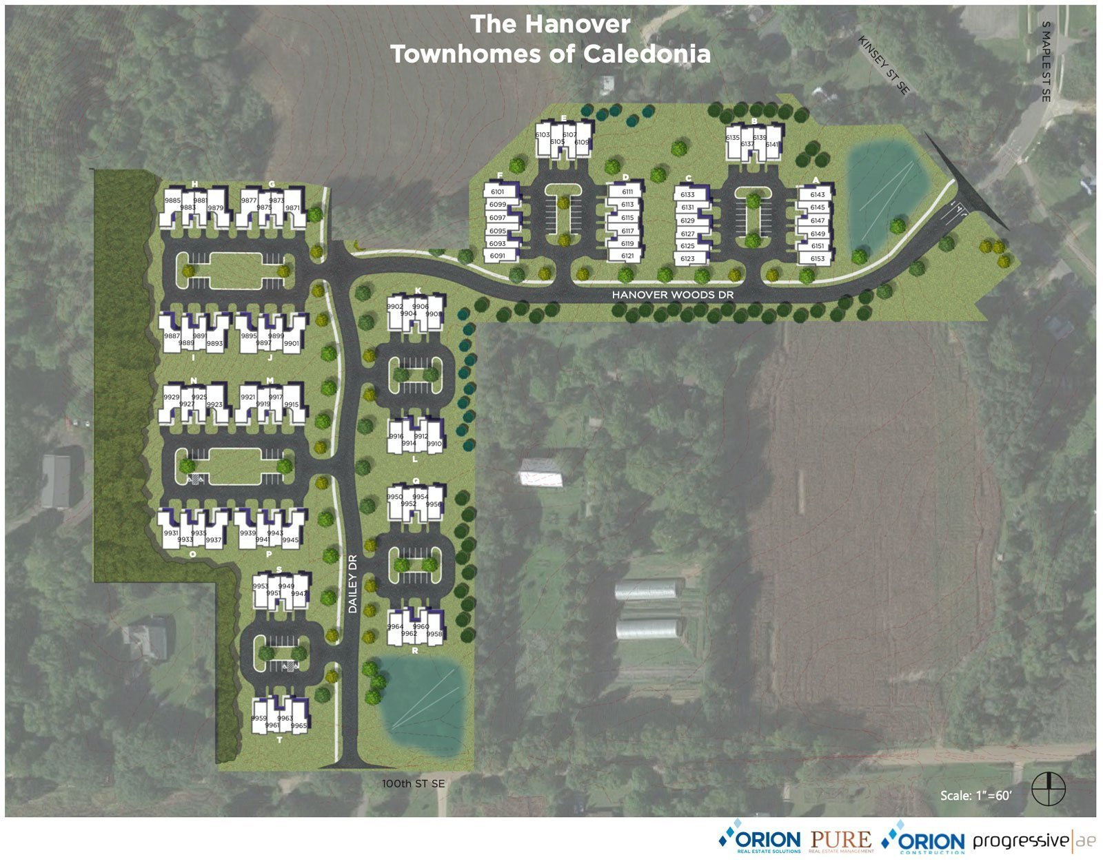 Site Plans for The Hanover Townhomes of Caledonia